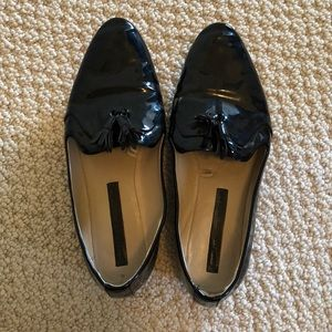 Zara black pattan leather loafers with tassels.